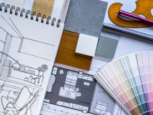 Interior illustration sketch with material color scheme