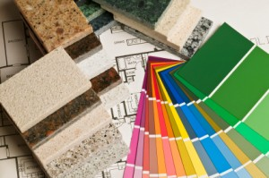 Home improvement and construction samples  swatches blue prints
