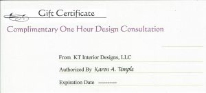 KT Complimentary One Hour Design Consultation
